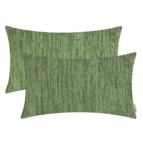 BRAWARM Pack of 2 Comfy Chenille Bolster Pillow Covers Cases for Couch Sofa Bed Solid Dyed Soft Stripe Texture Cushion Covers Both Sides for Home Decoration 12 X 20 Inches Forest Green (Green Pillow Lumbar)