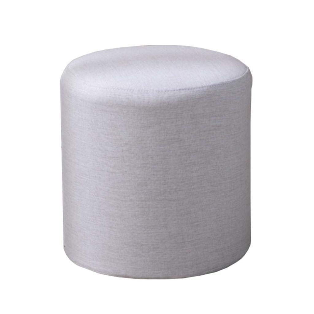 RDMZ Fashion Modern Sofa Stool Solid Color Fabric Small Wooden Bench Multifunction Household Creative Bench (Color : Creamy-White)