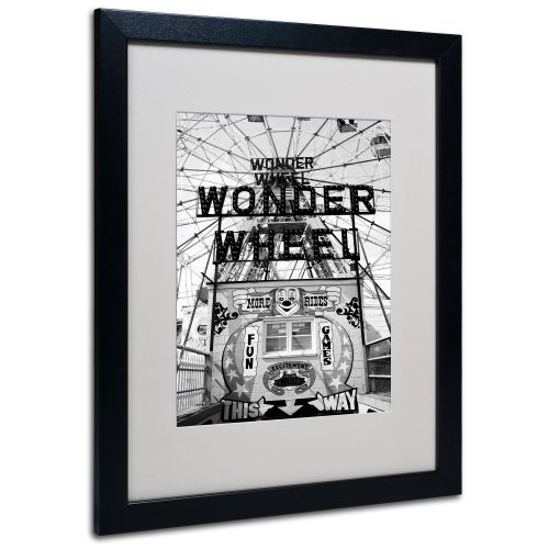 Coney Island Wonder Wheel by Yale Gurney Canvas Art, 16 by 20-Inch, Black Frame (Best Rides Coney Island)