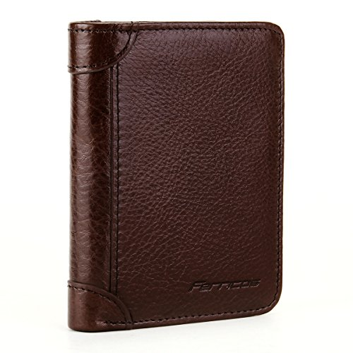 Ferricos RFID Men Cowhide Leather Portrait Short Purse Extra Capacity Trifold Inner Pocket Wallet Card Case Cash Coin Bag Money Clip ID Photo Holder Men's Gift Series 1 Coffee - Vertical Executive Case