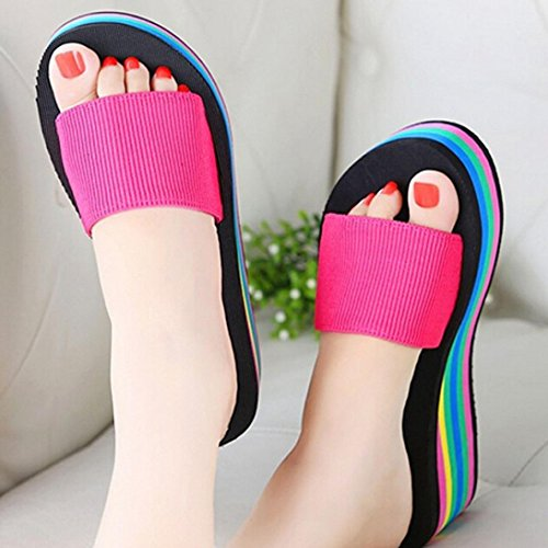Sommerschuhe Schuhe Peep Damen Dicke Keilabsatz Plateau Wedge Offen Sohle Multicolor Elegant Mädchen Pfirsich Toe Sandalen Rot Ansenesna Sq86wxAA