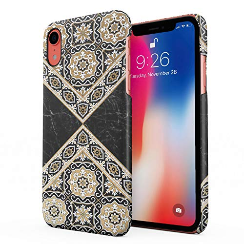 Black & Gold Marble Moroccan Mosaic Hard Plastic Phone Case for iPhone Xr