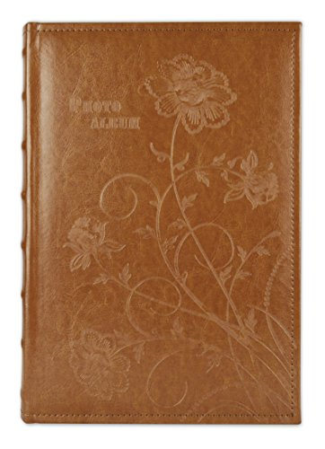Golden State Art Brown Floral Faux Leather Cover Photo Album For 300 4x6 Pictures, 3 Per Page by Golden State Art