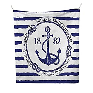 AnchorOld Authentic Nautical Emblem with Anchor on a Striped Background Freedom HeritageWhite Blue 64