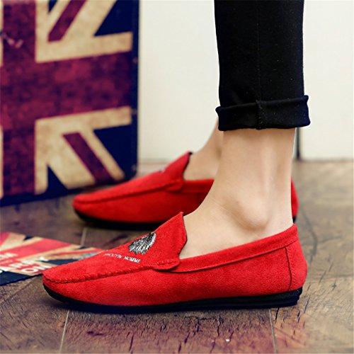 de casuales moda Slip Mocasines hombres Zapatos On de y los suaves cuero de Moccasins mano de gamuza los Red transpirables hombres Zapatos a hechos de qOPf6