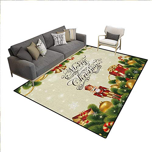 Christmas Rugs for Living Room Festive Celebratory Pine Tree with Snowflakes and Stylized Writing Calligraphy Customize Area Rugs Multicolor