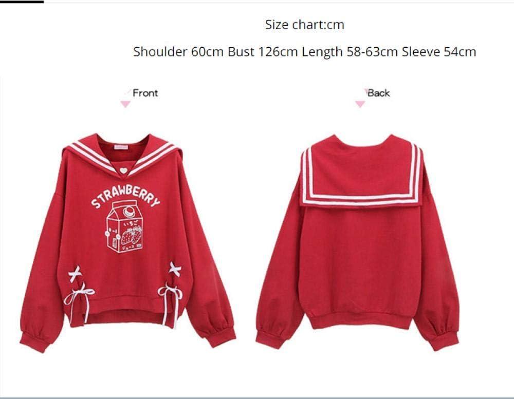 Sweatshirts Süße Frauen Rotes Sweatshirt Kawaii Erdbeerkatze Grafik Mädchen Schnüren Weibliche Niedliche Anime Hoodies A