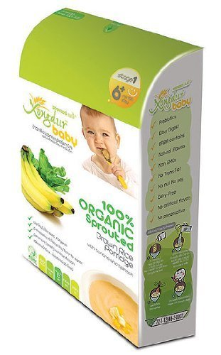 Xongdur Baby Health Fully Delicious Organic Cereal 100% Organic Sprouted Brown Rice Porridge with Banana & Spinach 120g. - 20g. X 6 Sachets for Baby 6 Months+ Stage 1