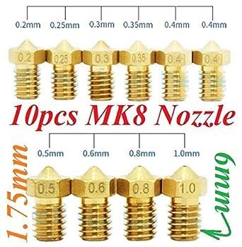 10 3d printer Nozzle Boquillas E3D V5 V6 0.2 0.25 0.3 0.35 0.4 0.5 ...