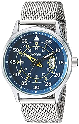 August Steiner Men's Silver-Tone Case with Yellow Accented Blue Dial and Silver-Tone Stainless Steel Mesh Bracelet Watch AS8223SSBU