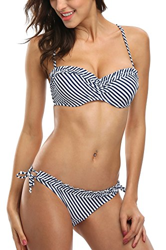 - Sociala Womens Push Up Bandeau Bikini Two Piece Swimsuit Swimwear Bathing Suit Navy M