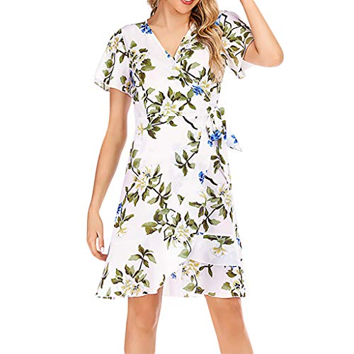 QueenMM Women's Casual Wrap V-Neck Floral Short Sleeve Chiffon Dress Tie Side Printed Sundress Party Midi Dress White