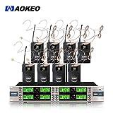 Aokeo AK-8000 8 Channel Wireless Microphone System (Wireless Headset Microphone)