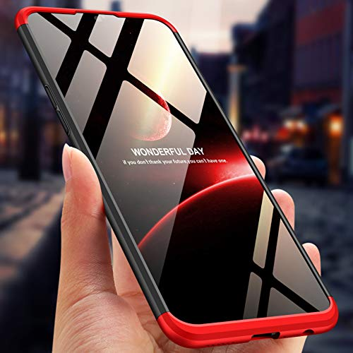BOUNCEBACK Plastic and Rubber Back Cover for Oppo F9 Pro (Black Red