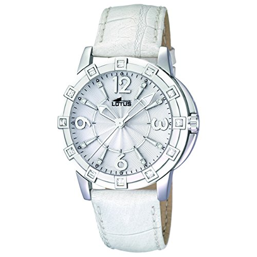 Lotus Women's Glee L15745/1 White Leather Quartz Watch with White Dial