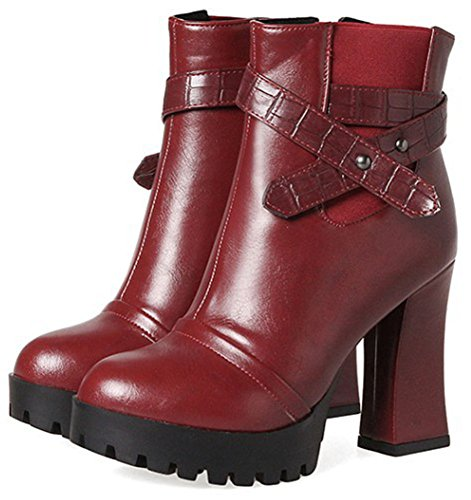 IDIFU Womens Fashion Zip Up Pointed Toe High Chunky Heel Platform Ankle High Martin Boots Wine Red rWqX14