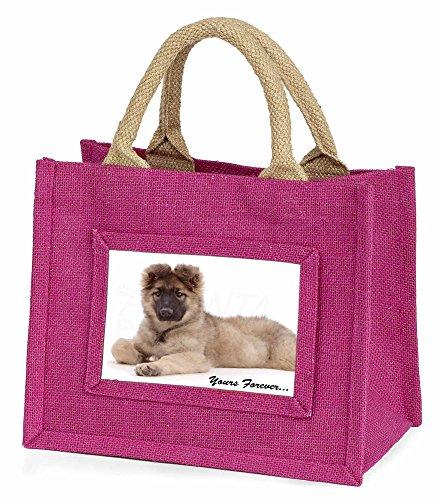 Advanta–Mini Pink Jute Tasche German Shepherd Pup Yours Forever Little Mädchen klein Einkaufstasche Weihnachten Geschenk, Jute, pink, 25,5x 21x 2cm