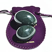 2-PCS real Nephrite Jade Yoni Egg Set for Beginner & Intermediate Users, Consisting of Medium and Large Sizes, Made of 100% Natural and Genuine Nephrite Jade, Manually Polished,Comes with a Packing Pouch and Certificate of Authenticity