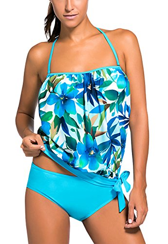 FEOYA Blouson Tankini Top With Hipsters Cami Swimwear Padded Swimsuits For Women 2XL - Blue
