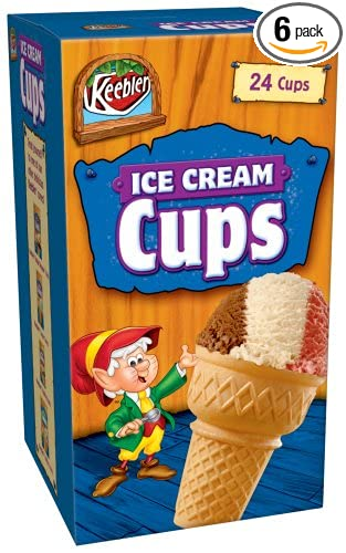 Keebler Vanilla Ice Cream Cups, 3-Ounce, 24-Count Box (Pack of 6)