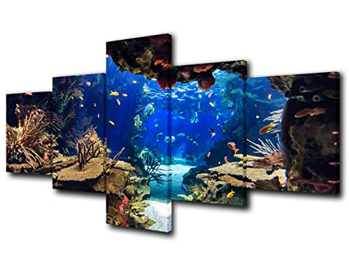 5 Piece Canvas Wall Art Tropical Fish Pictures for Living Room Underwater World Paintings Undersea Coral Reef Artwork HD Prints Giclee Home Modern Decor Framed Stretched Ready to Hang(50