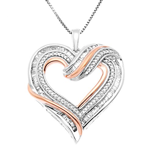 - JewelExclusive Sterling Silver two-tone 1/2 CTTW Diamond Open Heart Pendant