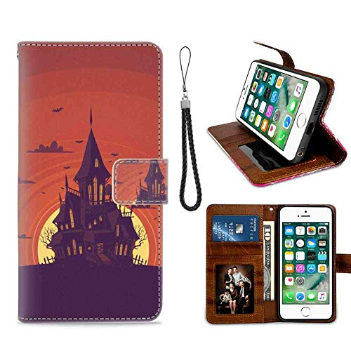 DISNEY COLLECTION Wallet Leather Case Fit for iPhone 7 Plus, iPhone 8 Plus Haunted Manor Credit Card Slots Holder Shock Absorption Protective Classic Cartoon Cover Durable]()
