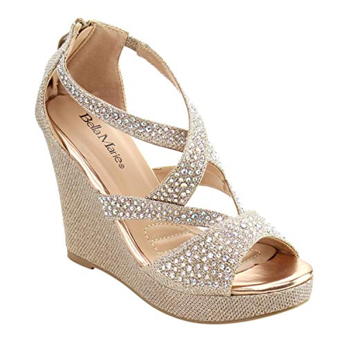 Bella Marie Women's Santo-11 Wedges-Champ-8... Champagne