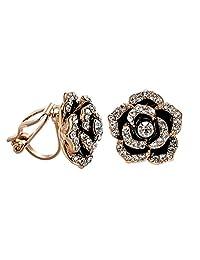 VOGEM Black Rose Earrings Clips 18K Rose Gold Plated Enamel Flower Clip On Earrings For Women