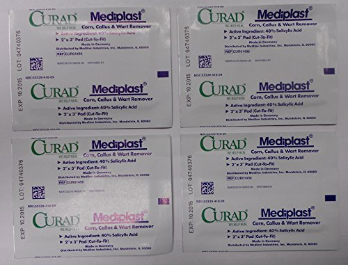 Curad Mediplast Corn, Callus, Wart Remover CUR01496 2x3 Cut To Size FOUR (4) Pads