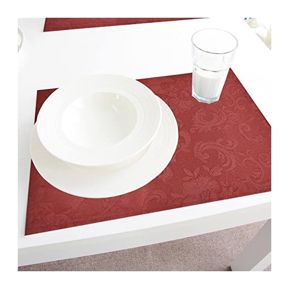 """Merryfeel Christmas placemats,13"""" x 18"""" Damask Jacquard Placemats, Set of 6,Red - 100% Polyester Jacquard Set includes six 13""""x18"""" placemats Can be dressed up or down to create the perfect look for each place setting and your table - placemats, kitchen-dining-room-table-linens, kitchen-dining-room - 51kdTGtmVmL. SS570  -"""