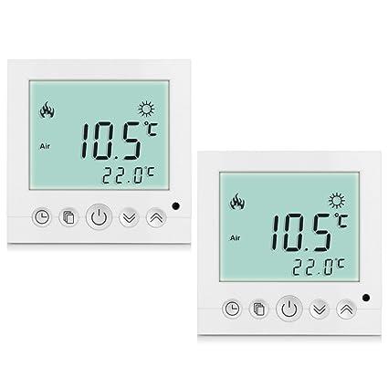 H3 - 2 termostatos digitales con pantalla LCD azul para salas y suelos