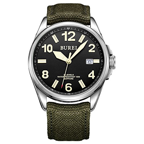 BUREI Unisex Luminous Mechanical Watch Automatic Canvas Field Black Date Sapphire Crystal Green Band