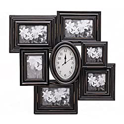 ZingVic High-end Decorative Black Wood Collage Picture Photo Frame with Glass Front - Multiple Coating and Scraping Color - 6 Openings with Clock - Wall Hanging