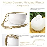 Mkono Ceramic Hanging Planter of Shallow 8 Inch and Deep 6 Inch for Indoor Outdoor Plants, Set of 2 Modern Plant Pot Geometric Porcelain Hanging Basket with Polyester Rope Hanger for Herbs Ferns Ivy