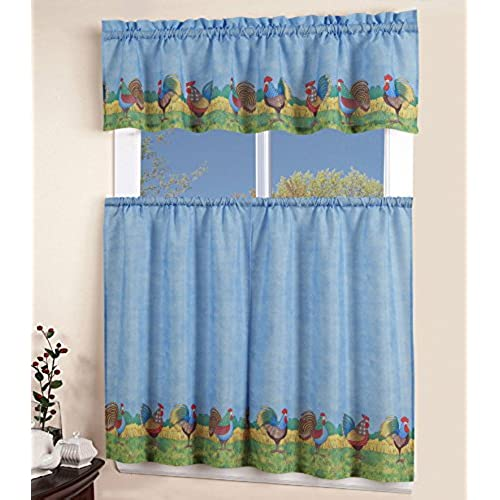 Kitchen Curtains Sets Amazon: Country Blue Kitchen Curtains: Amazon.com