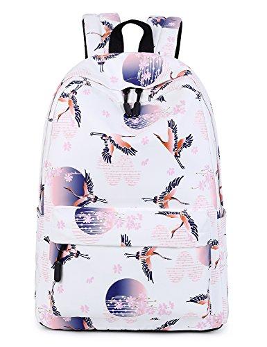 Leaper Crane Laptop Backpack Girls Travel Bag School Backpack Daypack White
