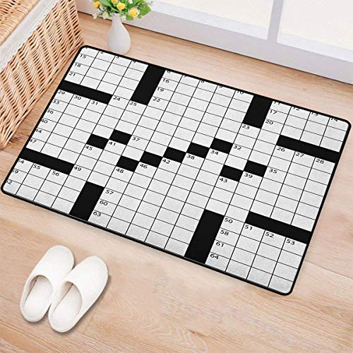 Word Search Puzzle,Door Mat Indoors,Blank Newspaper Style Crossword Puzzle with Numbers in Word Grid,Customize Bath Mat with Non Slip Backing,Black and White,Size:36