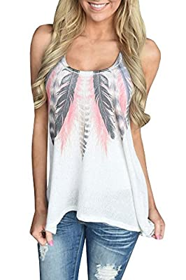 Tank Tops for Women White Flowy Racerback Long Tanks Loose Tunic Tops Shirts