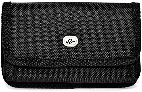 Wonderfly Horizontal Pouch for Apple iPhone 8 or iPhone 7, a XL Heavy Duty Rugged Nylon Canvas Carrying Case with Belt Clip, Fits The Phone with Otterbox Defender or Battery Case