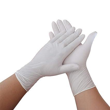 KOMEISHO Color Blanco Guantes Libres de alergia Desechables, Seguros para el Uso de Alimentos,