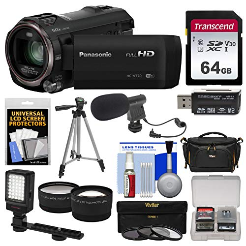 Panasonic HC-V770 Wireless Smartphone Twin Wi-Fi HD Video Camera Camcorder + 64GB Card + Case + LED Light + Microphone + Tripod + Tele/Wide Lens Kit