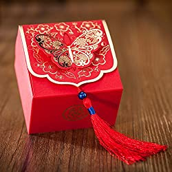 Chinese Symbol Gold Butterfly and Tassel Wedding Favor Candy Boxes -100pieces