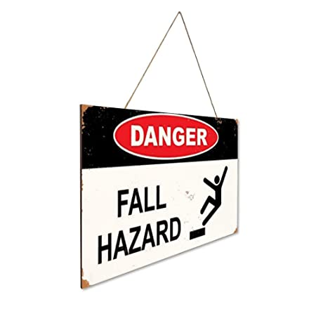 Danger Fall Hazard Hazard Sign Fall Hazard Cartel de Madera ...