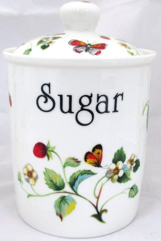 Fresas y mariposas azucarero porcelana tarro de fresas azúcar pintada a mano en el Reino Unido entrega GRATUITA Reino Unido