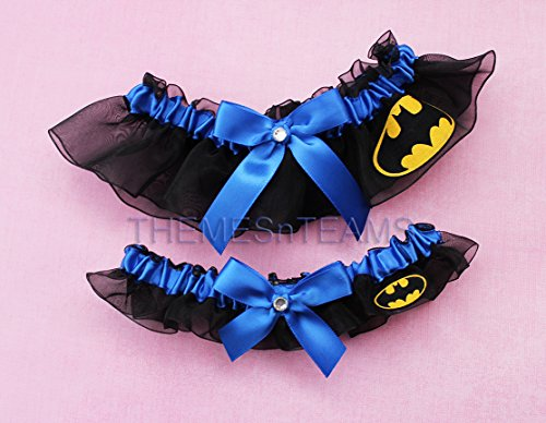Customizable handmade – Black  royal blue – Batman fabric handcrafted keepsake bridal garters wedding garter set