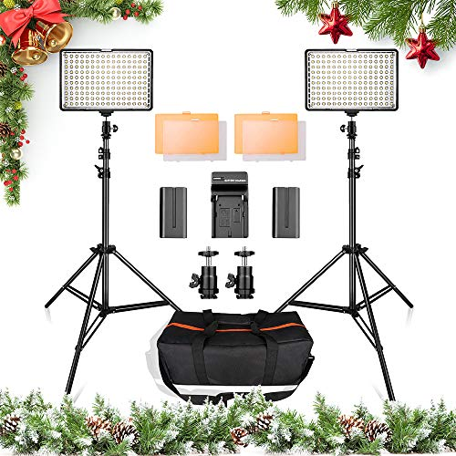 - LED Video Light Kit with 2M Light Stand, SAMTIAN 2-Pack Dimmable 3200K/5500K 160 LED Photo Light Panel Lighting Kit with Large Carry Case Charger Batteries for YouTube Studio Photography Shooting