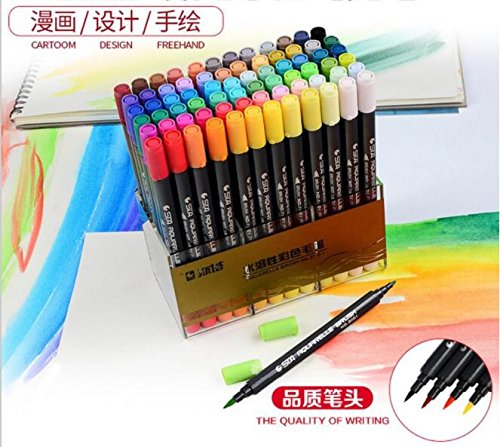 12/24/36/48/72/80 Art Brush Sketch Marker Pens Water Based Ink Twin Tip Marker Pen for Art Graphic Drawing Manga Fine Art (48 Colors)