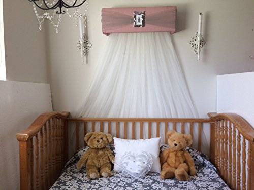 Kids Twin Headboard Personalized - Crib Canopy Bed Crown BeLLa Teester Princess Dusty Pink Gray Silver Personalized FREE White sheer curtains Shabby chic