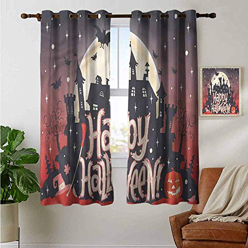petpany Light Blocking Curtains Halloween,Medieval Gothic Castle,for Bedroom, Kitchen, Living Room 42